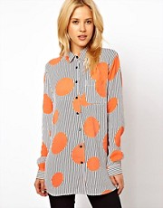 ASOS Shirt In Oversized Spot And Stripe Print