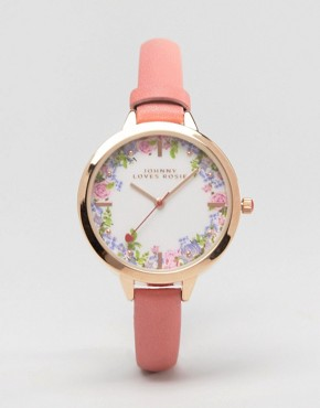 Johnny Loves Rosie Floral Pink Watch