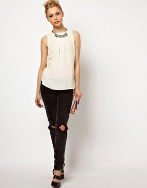 Image 4 of River Island Drape Back Top With Necklace