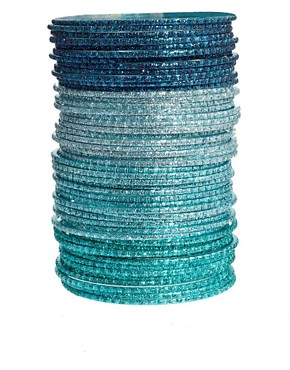 Image 1 ofASOS Pack Of 50 Teal And Silver Friendship Bangles