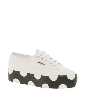 Image 1 ofSuperga House of Holland Collaboration Black &amp; White Dotted Flatforms