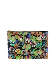 ASOS Zip Top Clutch Bag With Floral Embellishment