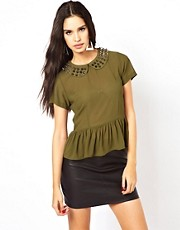 Glamorous Peplum Blouse With Studded Collar