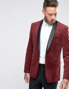 Farah Skinny Velvet Blazer with Shawl Lapel