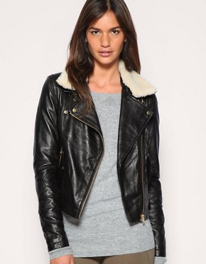 Image 1 ofASOS Leather Aviator Jacket With Detachable Faux Fur Collar