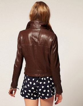 Image 2 ofASOS Leather Aviator Jacket With Detachable Faux Fur Collar