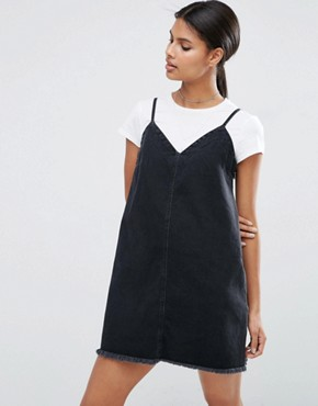 ASOS Denim Mini Slip Dress in Washed Black with Raw Hem