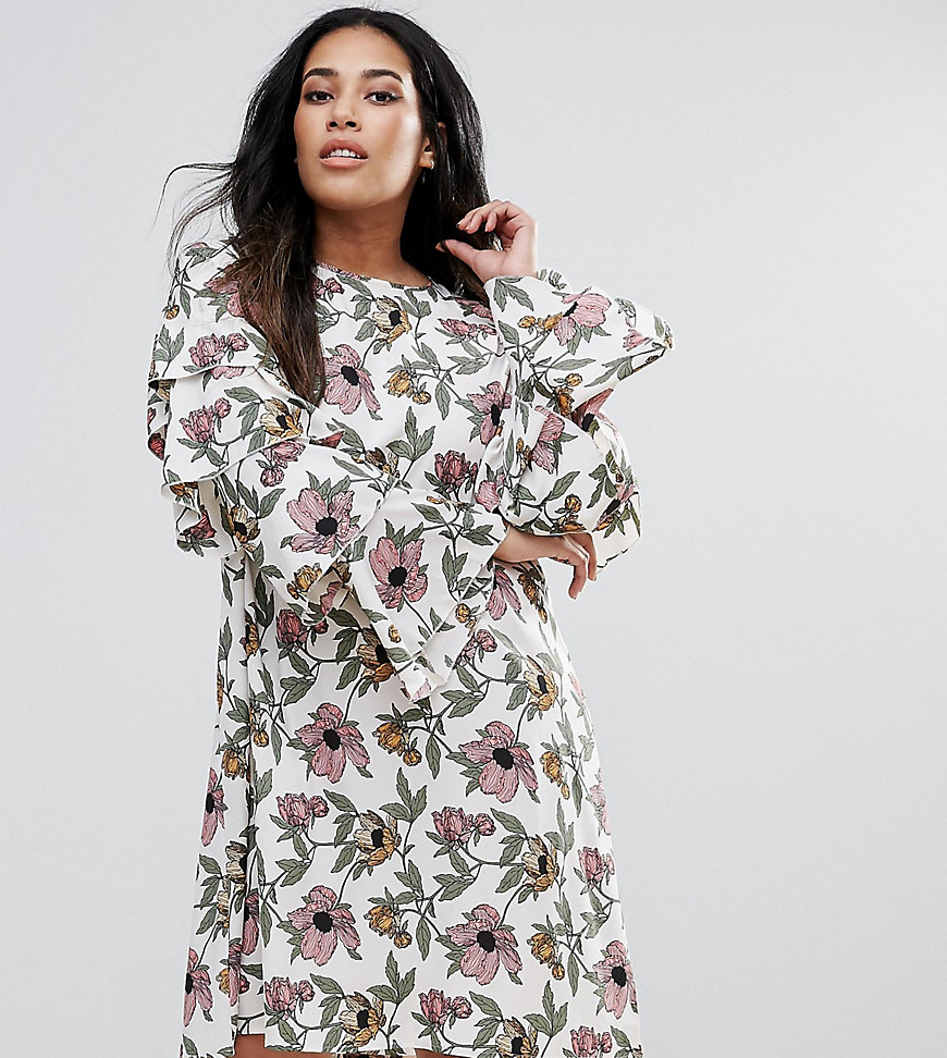 AX Paris Plus Ruffle Sleeve Dress