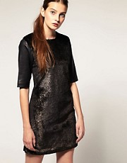 ASOS REVIVE Metallic Faux Fur Shift Dress