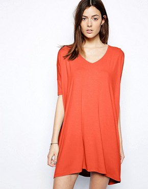 ASOS T-Shirt Dress With V Neck - Red