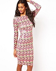 ASOS Body-Conscious In Habanera Printed Sequin Dress