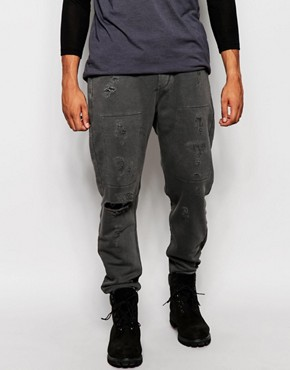 ASOS Slim Joggers With Distressed And Rip Detailing