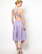 Kore by Sophia Kokosalaki Cross Back Pleat Dress With Lace Strap Detail