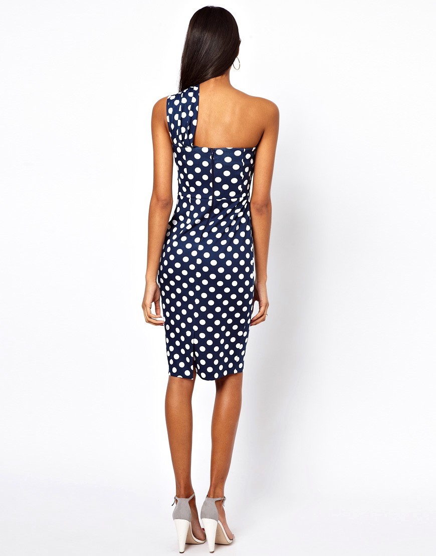Image 2 of ASOS One Shoulder Pencil In Spot