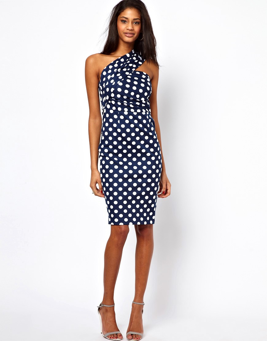 Image 1 of ASOS One Shoulder Pencil In Spot