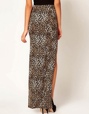Image 2 ofASOS Animal Maxi Skirt with Thigh High Split