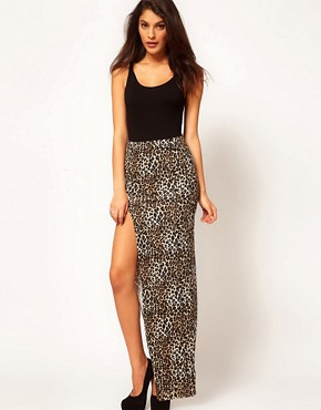 Image 1 ofASOS Animal Maxi Skirt with Thigh High Split