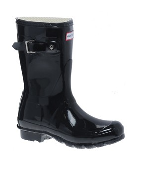 Image 1 ofHunter Original Short Black Gloss Wellington Boots