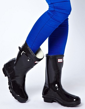 Image 3 ofHunter Original Short Black Gloss Wellington Boots