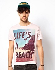 New Look T-Shirt with Life's a Beach Print