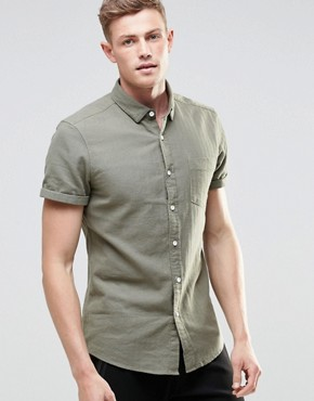 ASOS Herringbone Shirt In Khaki With Short Sleeves In Regular Fit