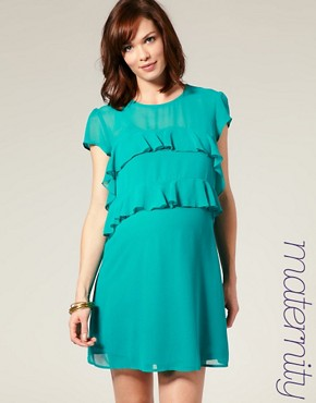 Image 1 ofASOS MATERNITY Frill Front Dress with Short Sleeves