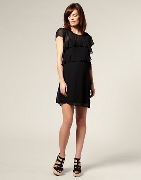 Image 4 ofASOS MATERNITY Frill Front Dress with Short Sleeves