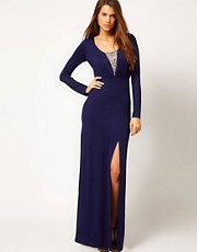 Little Mistress Embellished Jersey Maxi Dress