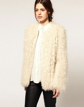 Image 1 ofASOS Premium Curly Shearling Coat