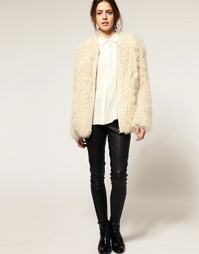 Image 4 ofASOS Premium Curly Shearling Coat
