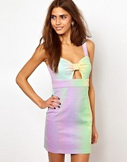 Lashes Of London Bodycon Dress With Rainbow Tie Front