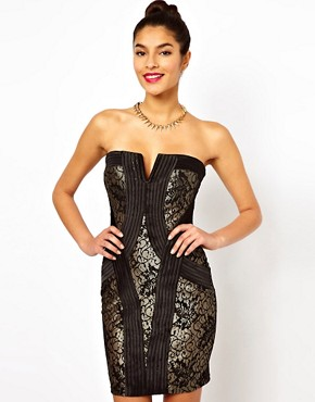 Image 1 ofLipsy Bandeau Lace Dress with Grosgrain Panelling