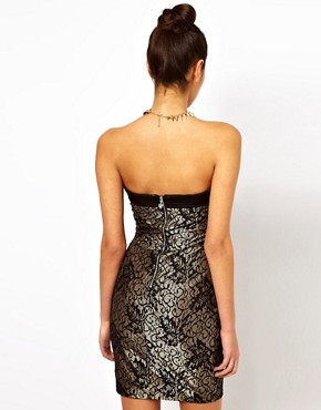 Image 2 ofLipsy Bandeau Lace Dress with Grosgrain Panelling