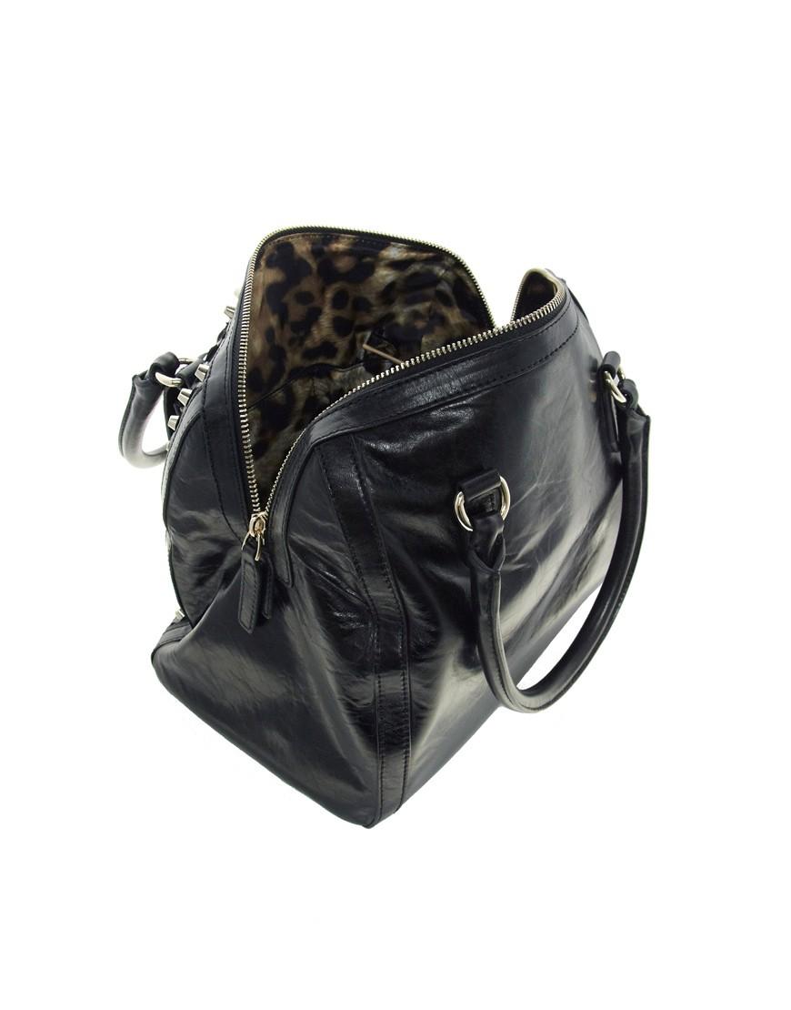 Image 4 ofKaren Millen Leather Limited Edition Stud Bowling Bag
