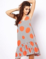 ASOS Sundress In Spot And Stripe With Drop Waist
