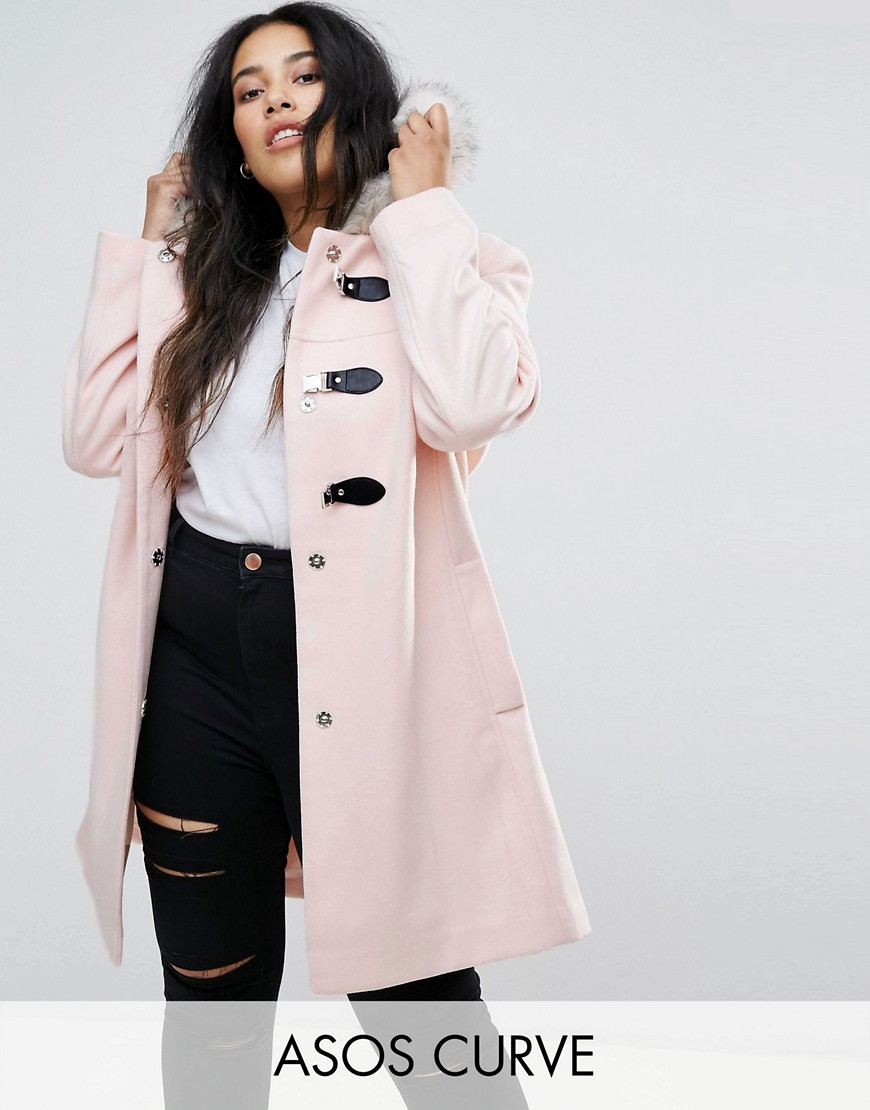 ASOS CURVE Duffle Coat with Faux Fur Hood - Pink