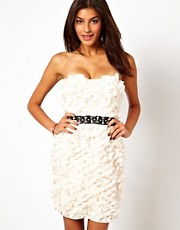 Lipsy VIP 3D Flower Dress with Waistband Detail