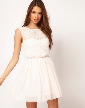 Image 1 ofASOS Skater Dress With Rose Mesh