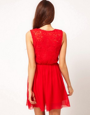 Image 2 ofASOS Skater Dress With Rose Mesh