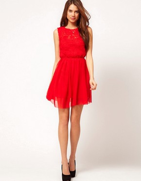 Image 4 ofASOS Skater Dress With Rose Mesh