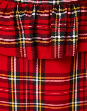 Image 3 ofASOS Peplum Frill Skirt In Tartan