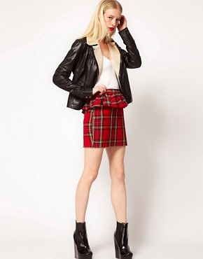 Image 1 ofASOS Peplum Frill Skirt In Tartan