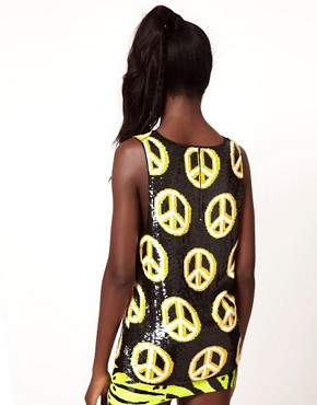 Image 2 ofAshish Peace Sign Tank with Low Arm Hole
