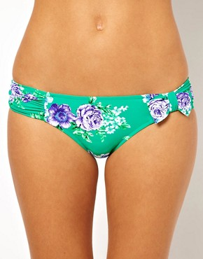 Image 1 ofSeafolly Rococo Rose Ruched Bow Bikini Pant
