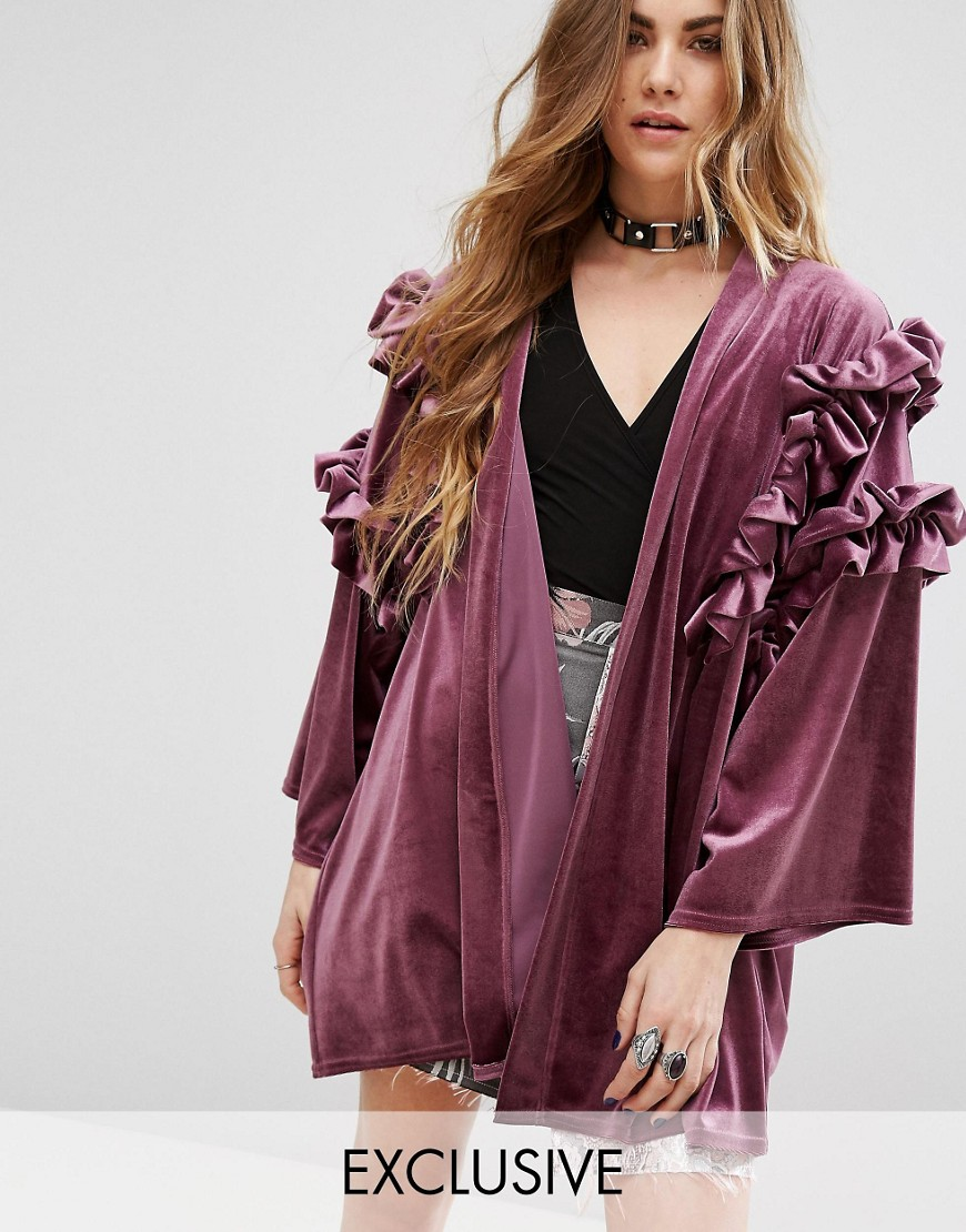 Reclaimed Vintage Kimono In Velvet With Ruffles - Purple