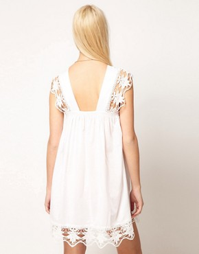 Image 2 ofASOS PETITE Exclusive Cutwork Cotton Mini Dress