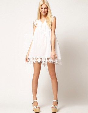 Image 4 ofASOS PETITE Exclusive Cutwork Cotton Mini Dress