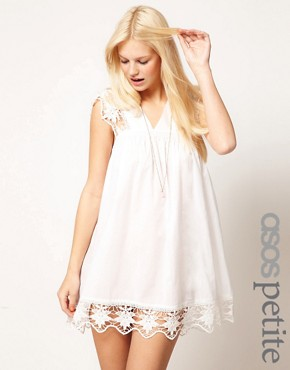 Image 1 ofASOS PETITE Exclusive Cutwork Cotton Mini Dress