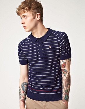 Image 1 ofFila Vintage Delfanio Stripe Knitted Polo