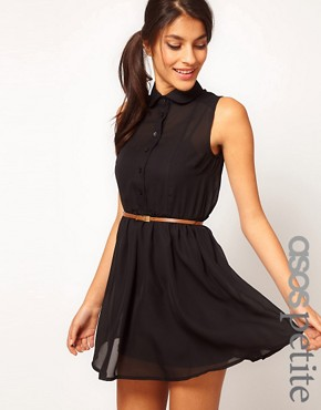 Image 1 ofASOS PETITE Exclusive Shirt Dress With Belt